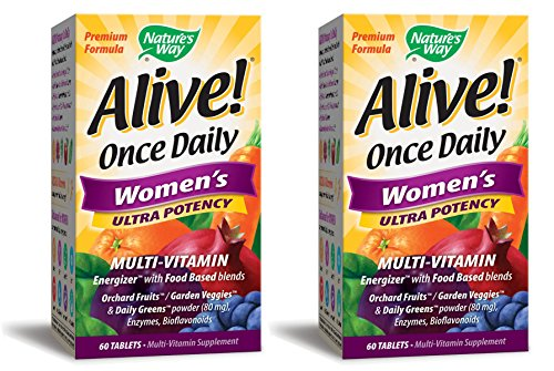 (Nature's Way Alive! Once Daily Women's Multivitamin, Ultra Potency, Food-Based Blends (240mg per serving), 60 Tablets, 2 Pack)
