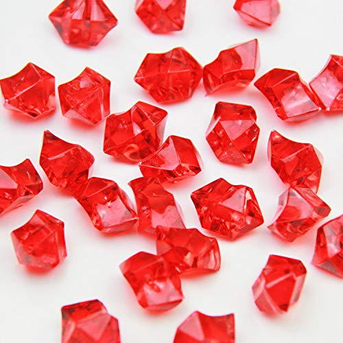 Red Acrylic Ice Rock Crystals Treasure Gems for Table Scatters, Vase Fillers, Wedding, Banquet, Party, Event, Birthday Decoration (Red, 150) -