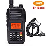 High Power 10W Tri-Band Ham Radio,Portable Long Range Walkie Talkies for Adults,4000mAh Rechargeable Li-ion Battery,200 Channel Two-Way Radios Built-in VOX Amateur Handheld Transceiver with Headset
