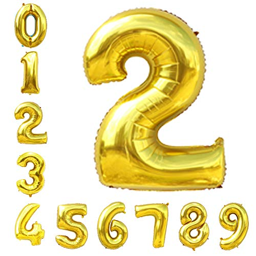 Gold Number Balloons 40inch Helium Birthday Balloons Foil Mylar Digital Balloons for Birthday Engagement Wedding Bridal Shower Anniversary of 2019 BALLOON (2)]()