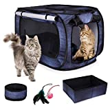 CheeringPet, Cat Travel Cage: Portable Pop Up Pet Crate with Collapsible Litter Box, Foldable Feeding Bowl, Hanging Feather Teaser and Ball, Carrying Bag, Extra Large 32' X 19' X 19' (Denim)