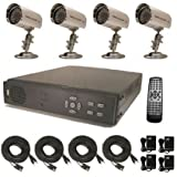 USA Security Store --- CCTV 4 Sharp CCD Day/Night Vision Color Cameras with 4 CH Security Surveillance DVR System Built-in 500GB HDD, Included 4x65FT video cables and Power Supplies KIT