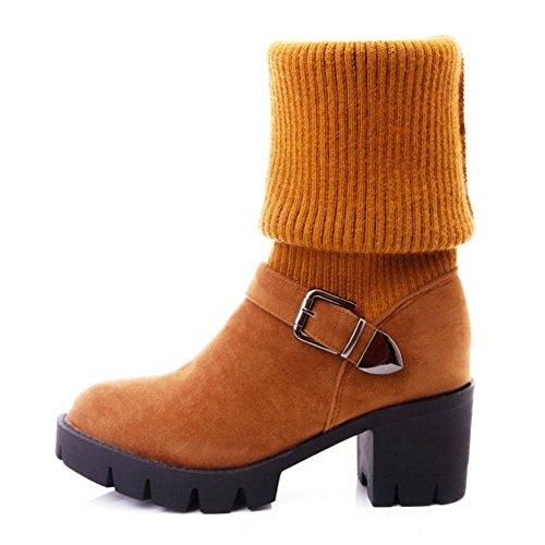 COOLCEPT Damen Mode Stricken Stiefel Ohne Verschluss Yellow