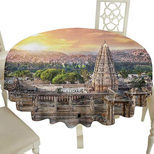 Asian Easy Care Leakproof and Durable Tablecloth Viruphaksha Temple View Up from The Hills Sunset Above City Buildings Rock Tower Outdoor Picnic D43.3 Inch Cream -