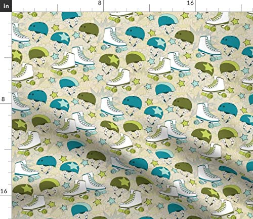(Roller Derby Fabric - Roller Derby Sport Roller Derby Skates Jammer Sport Sports Roller Derby Skate by Wildnotions Printed on Eco Canvas Fabric by The Yard)