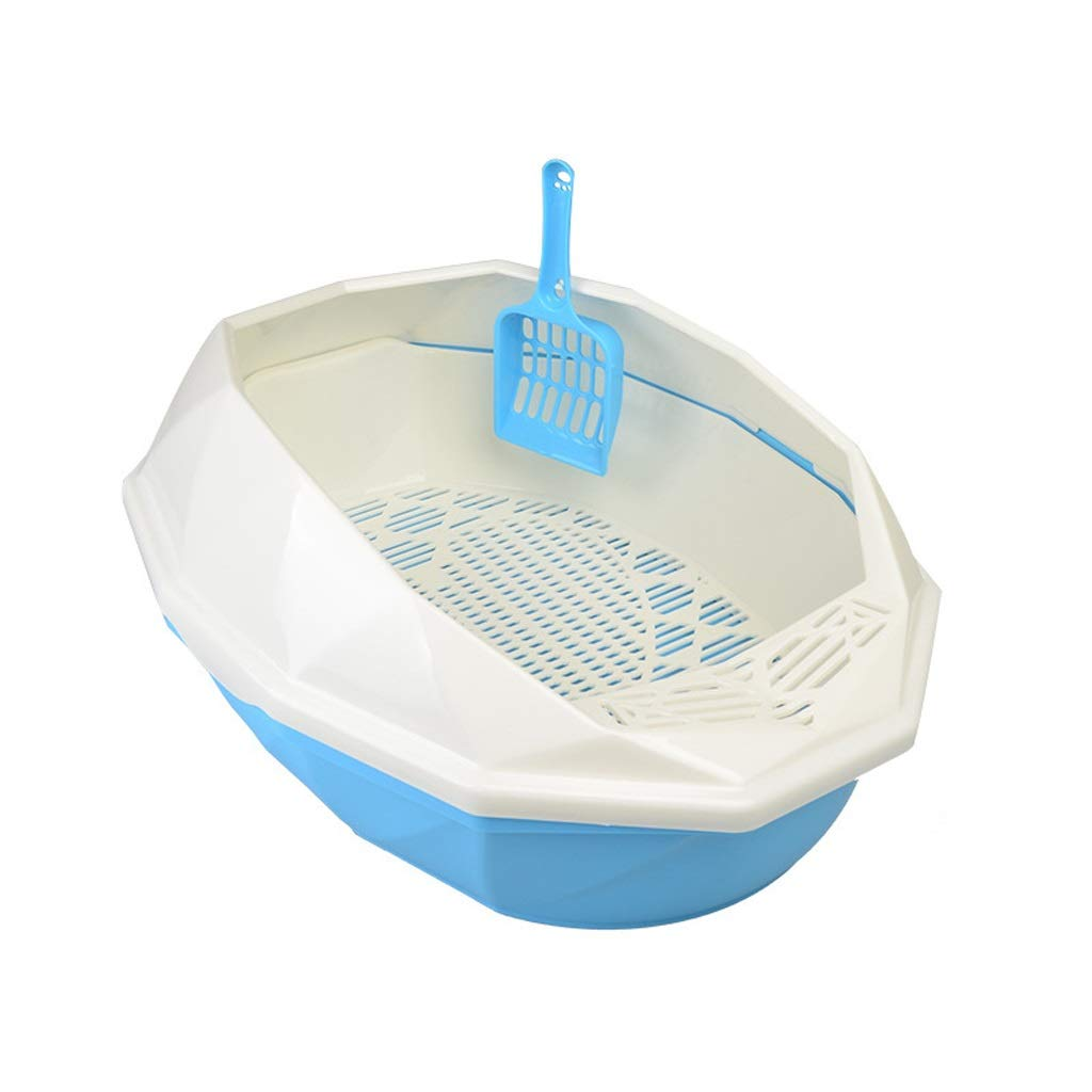 bluee M bluee M Cat Litter Boxes Cat Litter, Semi-Closed Cat Litter Cat Sand Pot Semi-Closed Easy to Clean Deodorant Pet Toilet (color   bluee, Size   M)