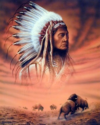 Indian Chief and Fighting Buffalo Native American Wall Decor Art Print Poster ()