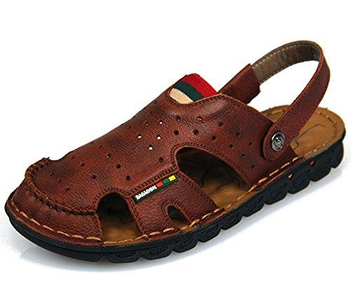 Nueva llegada de cuero suave sandalias de playa para los hombres, hecho a mano de cuero genuino zapatos de verano masculino, Retro costura zapatillas de los clásicos para los hombres 5