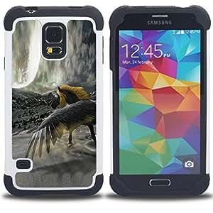 For Samsung Galaxy S5 I9600 G9009 G9008V - Horse Wild Yellow Grey Unicorn Magical /[Hybrid 3 en 1 Impacto resistente a prueba de golpes de protecci????n] de silicona y pl????stico Def/ - Super Marley Sho