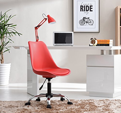 HODEDAH IMPORT Hodedah Mid Century Modern, Molded Chair with Adjustable Height & Wheels, Red by HODEDAH IMPORT