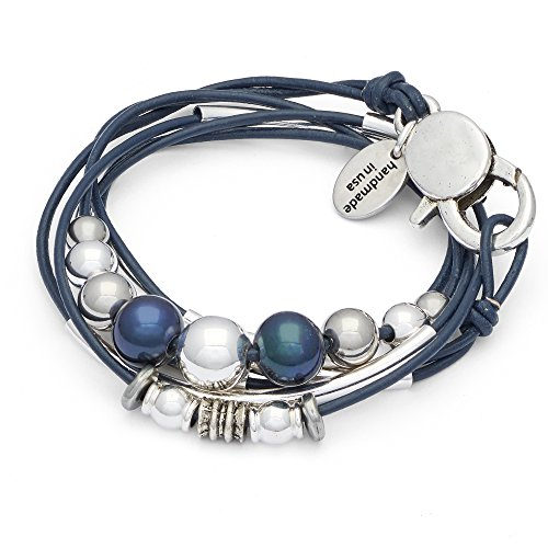 Lizzy James Mia 2 Strand Wrap Bracelet Necklace in Gloss Navy Leather (Medium)