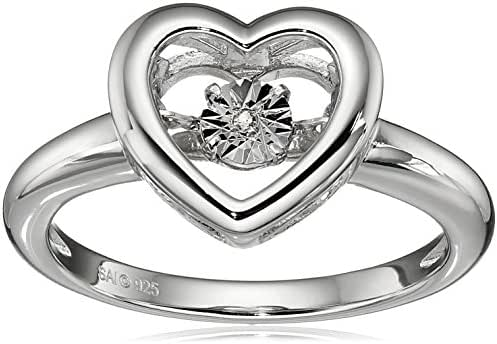 Sterling Silver Diamond Heart Dancing Ring, Size 7