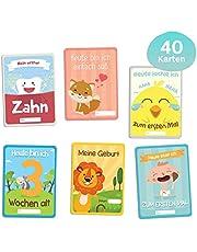 Meilensteinkarten Baby 1. Lebensjahr, Babytagebuch, Gratis E-Book - 40. Baby Meilenstein-Karten für Junge und Mädchen - Ideales Geschenk zur Geburt, Schwangerschaft, Taufe - Milestone Cards Deutsch