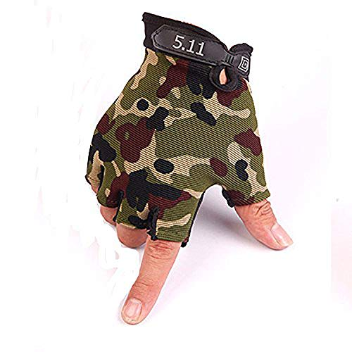 (JIAHG Men Summer Driving Gloves Women Sunscreen Half Finger Fingerless Gloves Lightweight Summer UV Protection Cycling Gloves Breathable Gym Fitness Workout Motorcycling Cotton Gloves (Camouflage#))