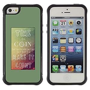 "Pulsar iFace Series Tpu silicona Carcasa Funda Case para Apple iPhone SE / iPhone 5 / iPhone 5S , Tiempo Coin Conde Cartel montañas Teal"""