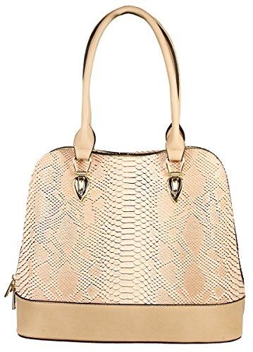 Python Leather Shoulder Handbag - Derica Python Embossed Pattern Faux Leather Satchel Shoulder Hand Bag - Beige