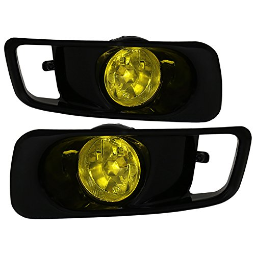 AJP Distributors Fog Lights Lamps Pair + Wiring Switch For 1999 2000 99 00 Honda Civic JDM EK EM1 Sedan Coupe Hatchback (Black Bezel + Yellow -