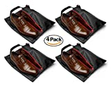 "Travel Shoe Bags 16""x12"", Made of Strong Lustrous Ballistic Nylon (Black) (4-Pack) Nylon Shoe Tote Bags with Heavy Duty Zipper. Men and Women."