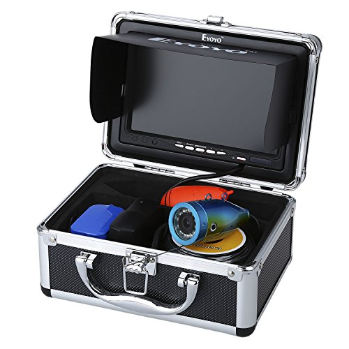 Eyoyo Original 50M 1000TVL HD CAM Professional Fish Finder Underwater Fishing Video Recorder DVR 7'' Color Monitor Infrared IR LED lights With 4GB SD card by Eyoyo