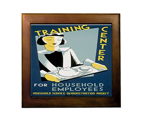 Training Household Employees (Cleo) Ceramic Tile in Wood Frame (Cleo Wood)