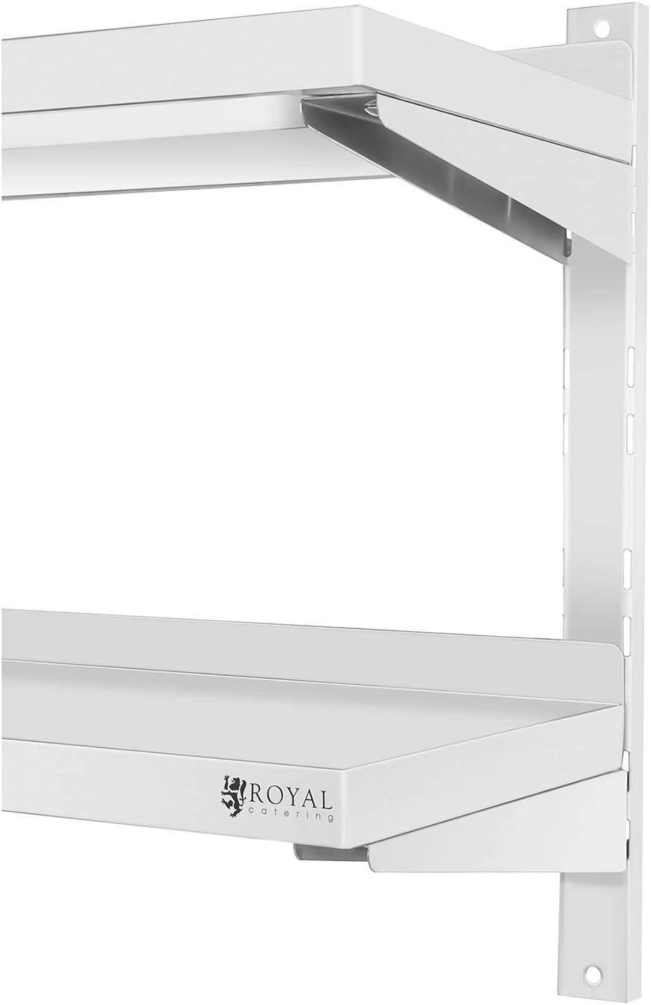 Royal Catering RCWR-2000.3 Wandbord 2 Ablagen 30 x 200 cm Regal Edelstahlregal K/üchenregal Edelstahl 40 kg