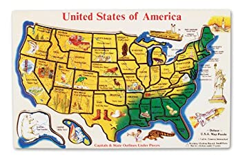 Amazoncom Melissa Doug USA Map Wooden Puzzle Pcs Melissa - Picture of the united states of america map
