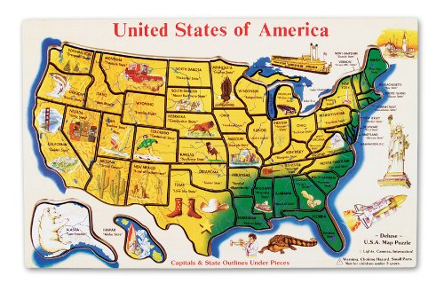 Amazon Com Melissa Doug Usa Map Wooden Puzzle 45 Pcs Melissa