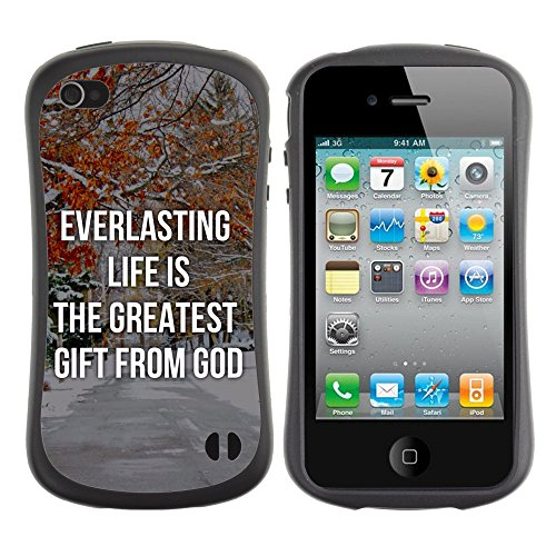 DREAMCASE Citation de Bible Silicone et Rigide Coque Protection Image Etui solide Housse T¨¦l¨¦phone Case Pour APPLE IPHONE 4 / 4S - EVERLASTING LIFE IS THE GREATEST GIFT FROM GOD