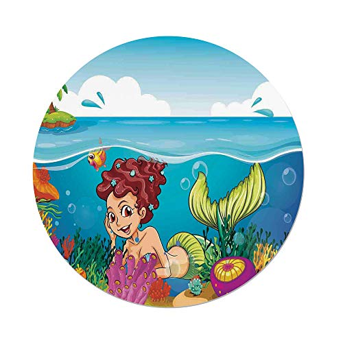 iPrint Polyester Round Tablecloth,Mermaid Decor,Illustration of a Smiling Mermaid under the Sea Garden Palm Tree Island,Dining Room Kitchen Picnic Table Cloth Cover,for Outdoor Indoor