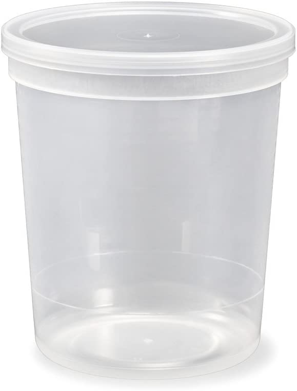 ¼ Gallon (32 oz.) 1 Quart Food Grade Tall Round Plastic Container with Lid - Clarified - Single Seal Lid - 25 sets of containers & lids