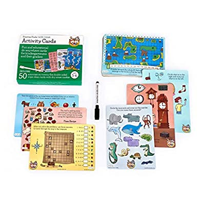Fun & Educational Wipe-Clean Activity Cards for Kindergarteners and First-graders, Ages 5-6 (50 Activities on 25 Double-sided Cards in Travel Tote with Handle, Includes Child-Size Dry-Erase Marker): Toys & Games