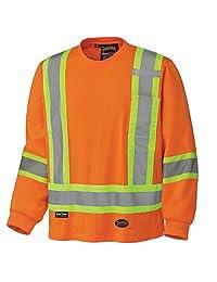 Pioneer V1050850-L 100% Cotton Long Sleeve Reflective Safety Shirt, Orange, L