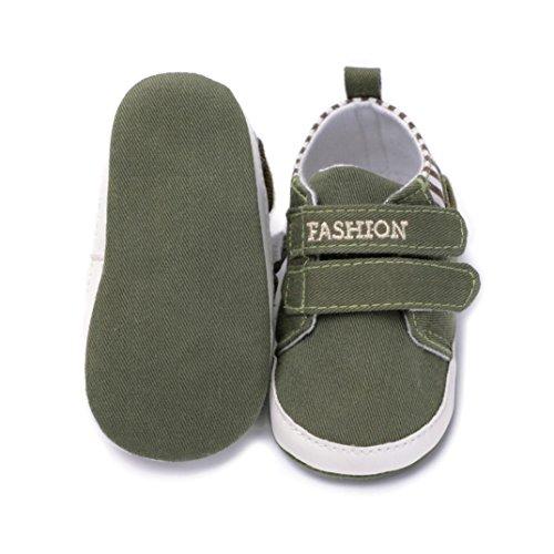 Clode® Kleinkind Baby Mädchen Jungen feste weiche Sohle Anti Rutsch Turnschuhe Canvas Crib Schuhe Arm Green