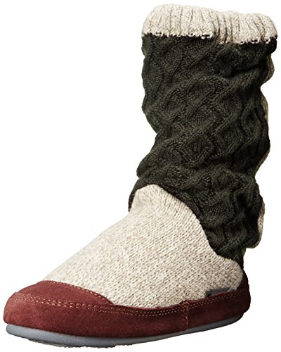 Acorn Women's Slouch Boots, Charcoal Cable Knit, Large/8-9 B(M) US