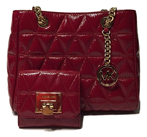MICHAEL Michael Kors Susannah MD NS Tote Quilted Handbag bundled with Michael Kors Vivianne Trifold Wallet (Cherry Patent)