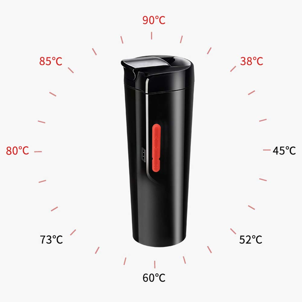 PUNCIA 12V Smart Electric Heated Travel Coffee Mug for Car Electric Heating cup On The Go Temp Control Mug (Tech Black) by PUNCIA (Image #3)