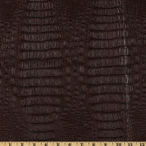 Plastex Fabrics Faux Leather Gator Fabric by The Yard, Brown ()