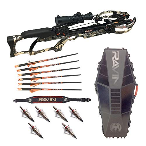 Ravin Crossbows R20 Camo Crossbow Package with R182 Hard Case, Shoulder Sling, and Hunting Broadheads Bundle ()