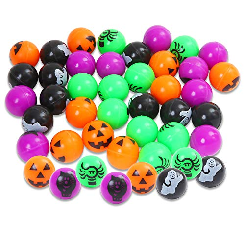 Aneco 36 Pieces 1 Inch Halloween Bouncing Balls Halloween Theme Designs Bouncy Balls Pumpkin Witch Toys Balls for Halloween Party Favors, Game Rewards, Trick or Treating Goodies