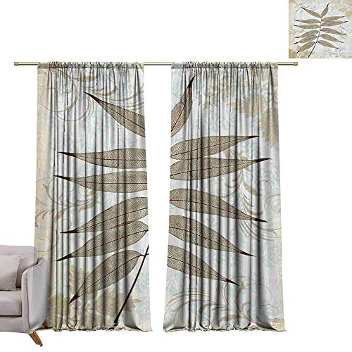 berrly Energy Saving Curtains Maple Leaf, English, White Background (3) W84 x L84 Thermal Insulated Draperies ()