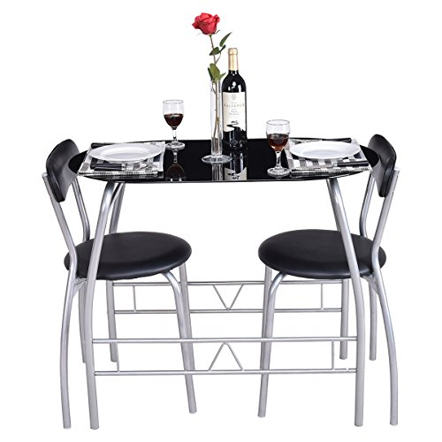 Tangkula Bistro Set 3 PCS Glass Top Modern Furniture Tabel and Chairs Dining Set (Breakfast Dining Nook Piece Black Corner Set 3)