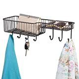 mDesign Wall Mount Entryway Storage Organizer Mail Basket with 7 Hooks, 2 Compartments - Holder for Letters, Magazines, Keys, Coats, Leashes - Strong Steel Wire Grid Design, Medium, Bronze