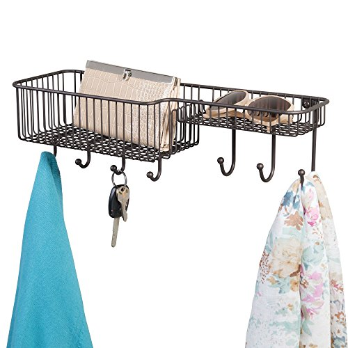 mDesign Wall Mount Entryway Storage Organizer Mail Basket with 7 Hooks, 2 Compartments - Holder for Letters, Magazines, Keys, Coats, Leashes - Strong Steel Wire Grid Design, Medium, Bronze by mDesign