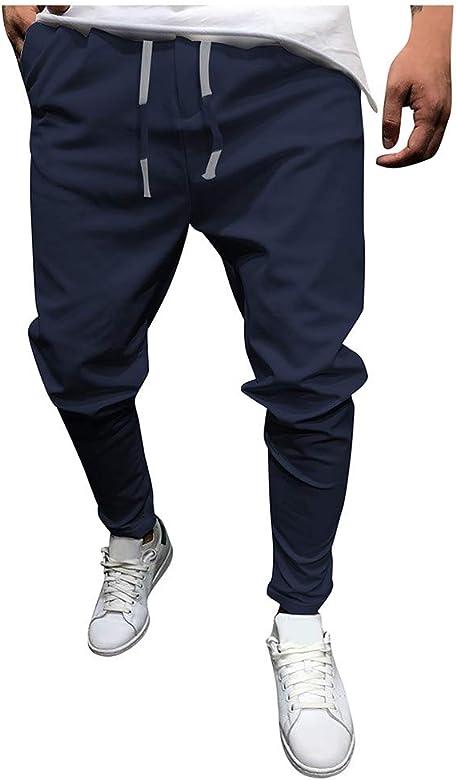 MXJEEIO Pantalones Largos Cargo para Hombre Color sólido nuevos ...