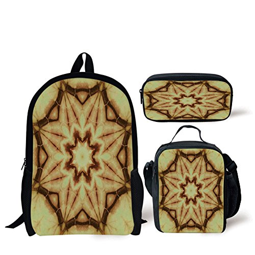 Schoolbags Lunch Bags,Tie Dye Decor,Trippy Ethnic Thai Mandala Motif Dirty Grunge Smear Rough Stains,Mustard Brown,Print,Two Piece Set by iPrint