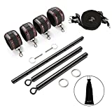 exreizst Expandable Spreader Bar Set with Adjustable Leather Straps Kit (Black 1)