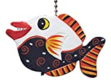 Black and White Tropical Fish Ceiling Fan Light Pull Hand Carved Wood