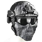 QZY Tactical Airsoft Casque Balistique - Double Straps Half Face Skull Mask - Lunettes, Armée Militaire Rapide PJ Casque… 6