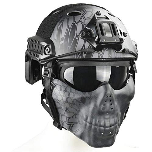QZY Tactical Airsoft Casque Balistique - Double Straps Half Face Skull Mask - Lunettes, Armée Militaire Rapide PJ Casque… 1