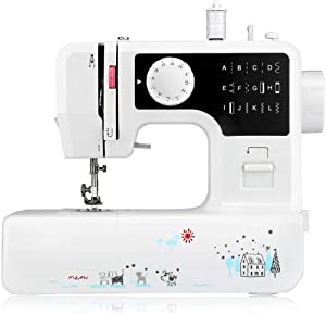 AODD Sewing Machine, Household Portable Electric Sewing Machine Portable Mini with 12 Different Stitches, Fabric Sewing, DIY, Easy Operation, Durable, for Fabric, Clothing, Home Travel (Black)